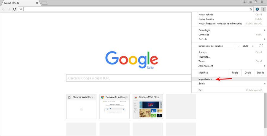 Impostazioni di Google Chrome bloccate